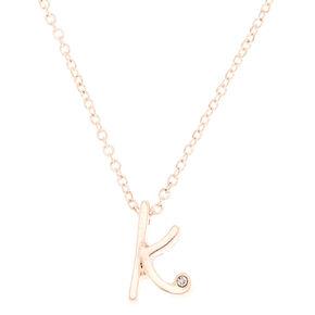 Rose Gold Cursive Initial Pendant Necklace - K,