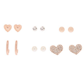 Rose Gold Mixed Heart Earrings - 6 Pack,