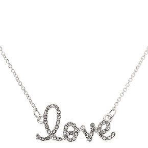 Silver Embellished Love Pendant Necklace,