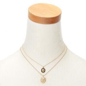 Gold Lion Pendant Necklaces - 2 Pack,