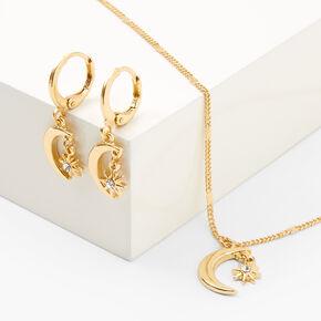Gold Crescent Moon Starburst Jewelry Set - 2 Pack,