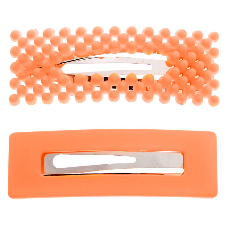 Beaded Matte Rectangle Snap Hair Clips - Neon Orange, 2 Pack,