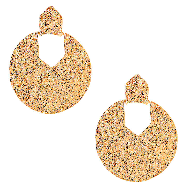 60s -70s Jewelry – Necklaces, Earrings, Rings, Bracelets Icing Gold 2.5 Textured Drop Earrings $12.99 AT vintagedancer.com