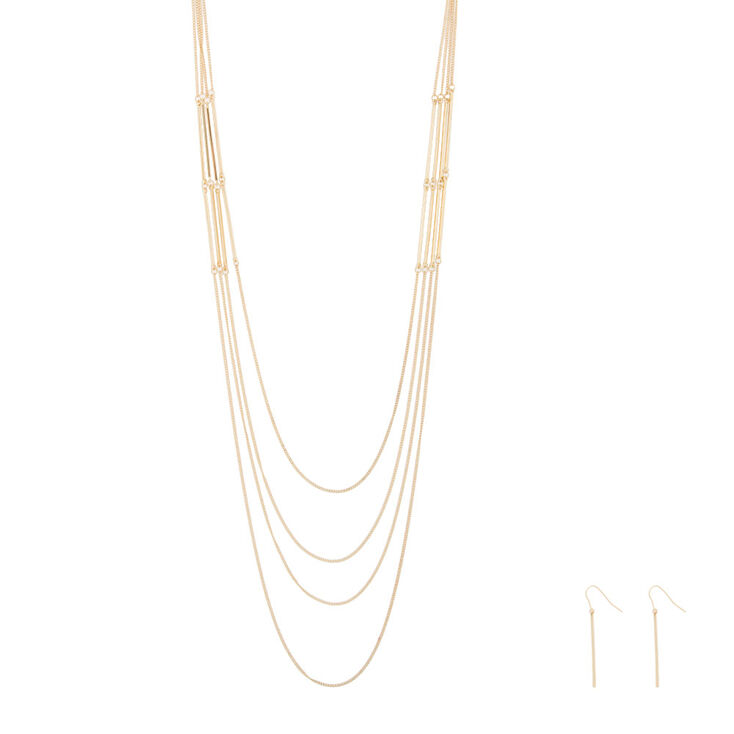 Gold Bar Multi Strand Necklace & Drop Earrings Set,