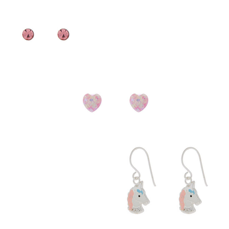 Sterling Silver Sherbet Unicorn Earrings - Pink, 3 Pack,