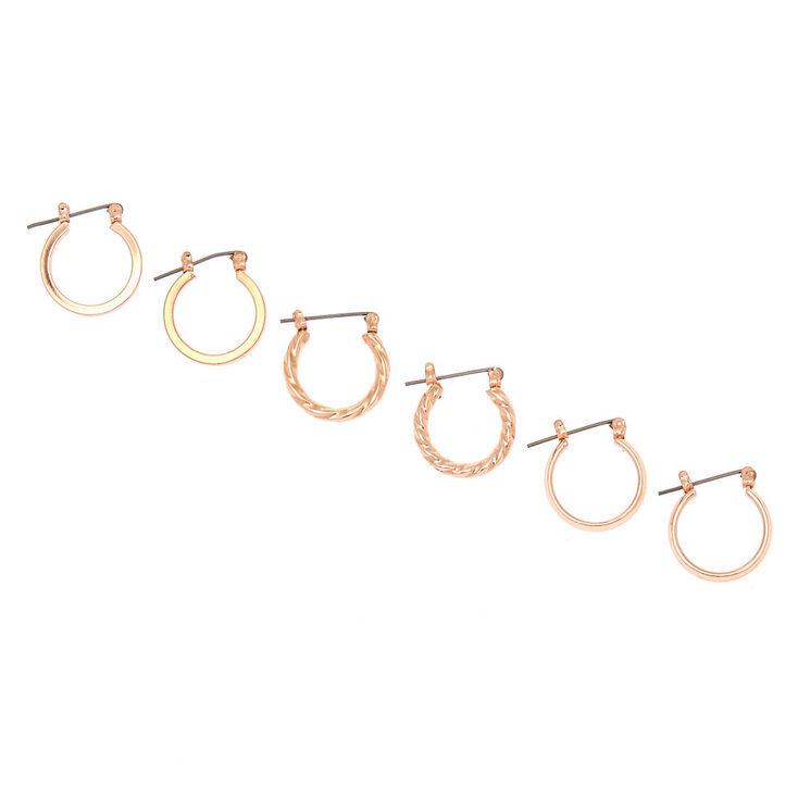 Rose Gold 15MM Hoop Earrings - 3 Pack,