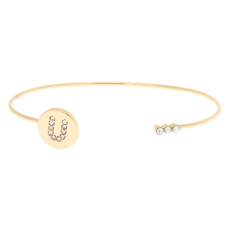 Gold Initial Cuff Bracelet - U,