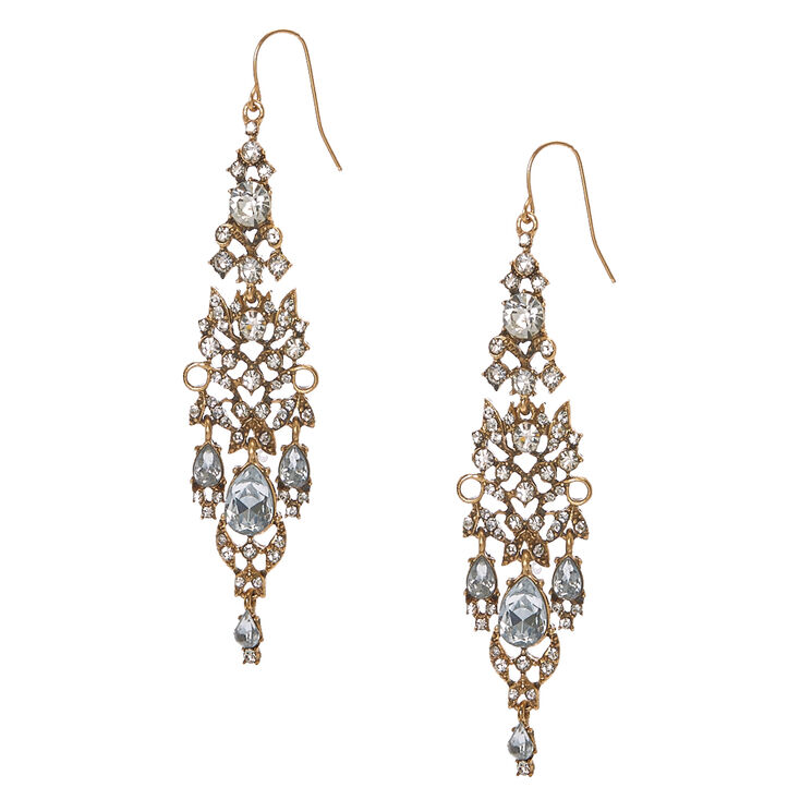 Antique Gold & Crystal Chandelier Drop Earrings,