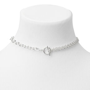 Silver Toggle Chain Choker Necklace,