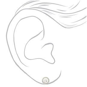 Silver Pearl Clip On Stud Earrings,