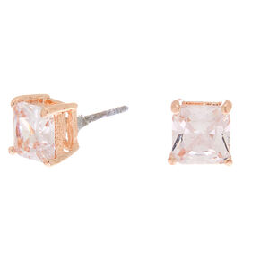 Rose Gold Cubic Zirconia Square Stud Earrings - 6MM,
