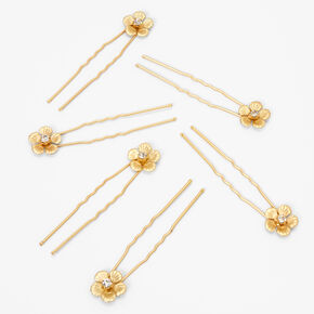 Gold Crystal Flower Hair Pins - 6 Pack,