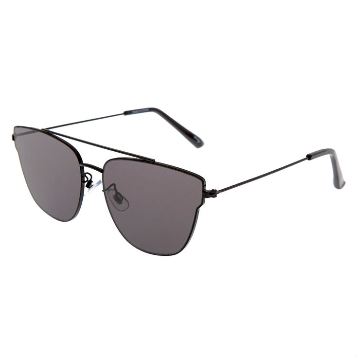 Black Mirrored Aviator Sunglasses,