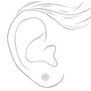 Silver Graduated Stud Earrings - 6 Pack,