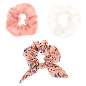 Floral Bow Hair Scrunchies - Blush, 3 Pack,