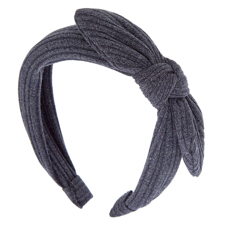 Ribbed Knot Bow Headband - Steel Blue,