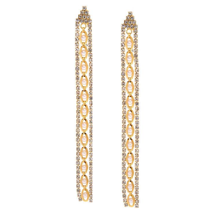 Elegant Gold Chain Drop Earrings,