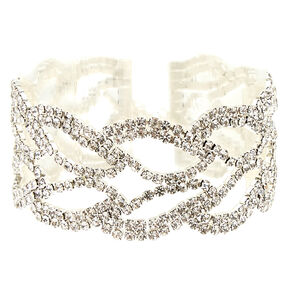 Silver Glass Rhinestone Statement Bracelet,