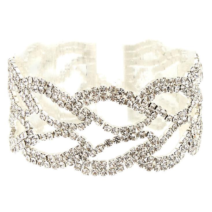 Silver Rhinestone Leaf Chain Bracelet,
