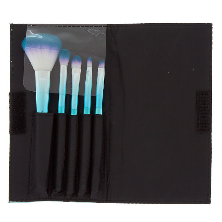 Mermazing Chrome Makeup Brush Set - Teal, 5 Pack,