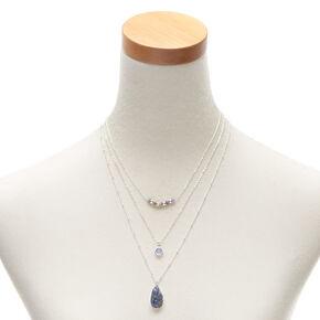 Silver Druzy Bead Multi Strand Necklace - Blue,
