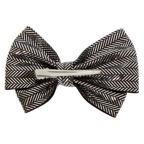 Chevron Glitter Hair Bow Clip - Silver,