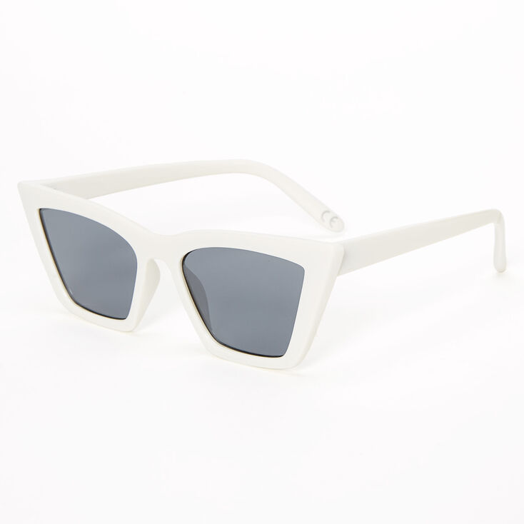 1950s Sunglasses & 50s Glasses | Retro Cat Eye Sunglasses Icing Rectangular Cat Eye Sunglasses - White $14.99 AT vintagedancer.com