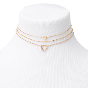 Gold Rhinestone Heart Choker Necklaces - 3 Pack,