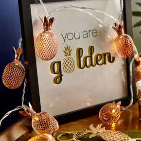 Rose Gold Pineapple String Lights,