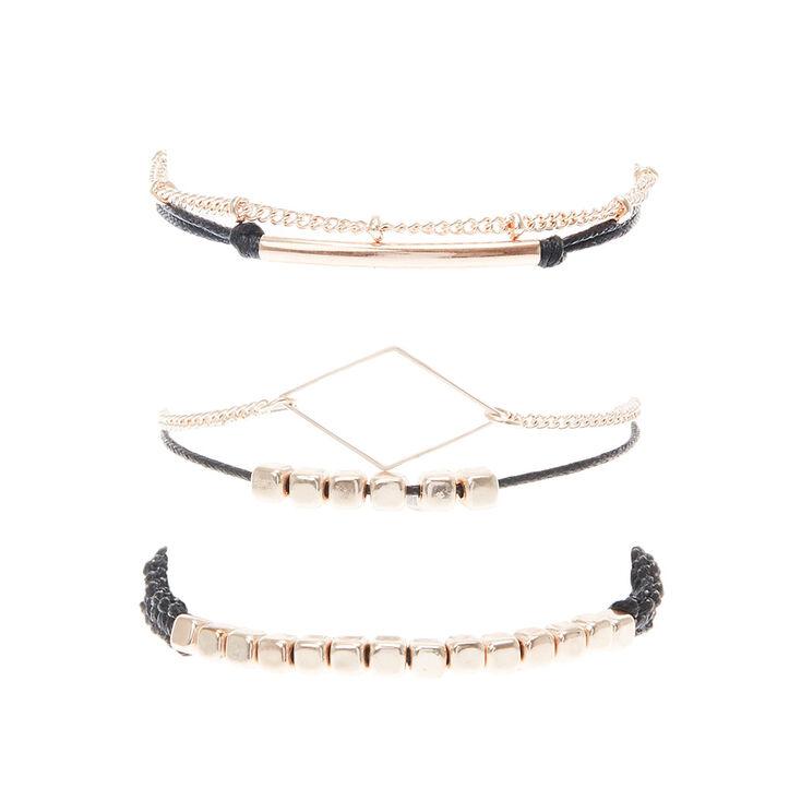 Black & Gold & Chain Cord Bracelet Set,