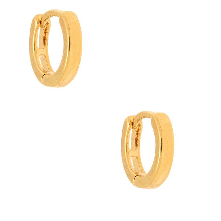 18kt Gold Plated 10MM Huggie Hoop Earrings,