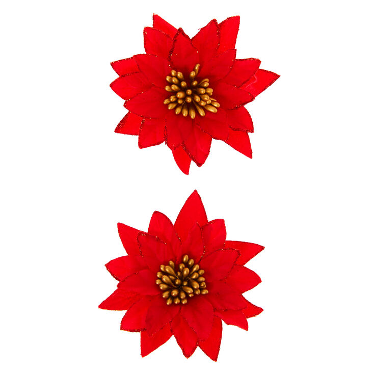 Poinsettia Hair Clips - Red, 2 Pack,