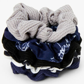 Navy and Gray Prints Ribbed Knit Hair Scrunchies - 5 Pack,