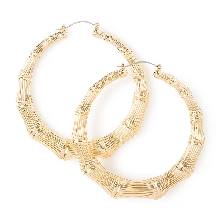 80mm Gold Bamboo Hoop Earrings