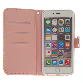Blush Crushed Glitter Folio Phone Case - Fits iPhone 6/7/8 Plus,