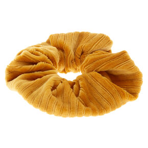 Ribbed Velvet Hair Scrunchie - Mustard,