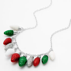 Silver Glitter Holiday Light Bulb Statement Necklace,