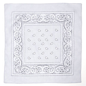 Paisley Print Bandana Headwrap - Light Gray,