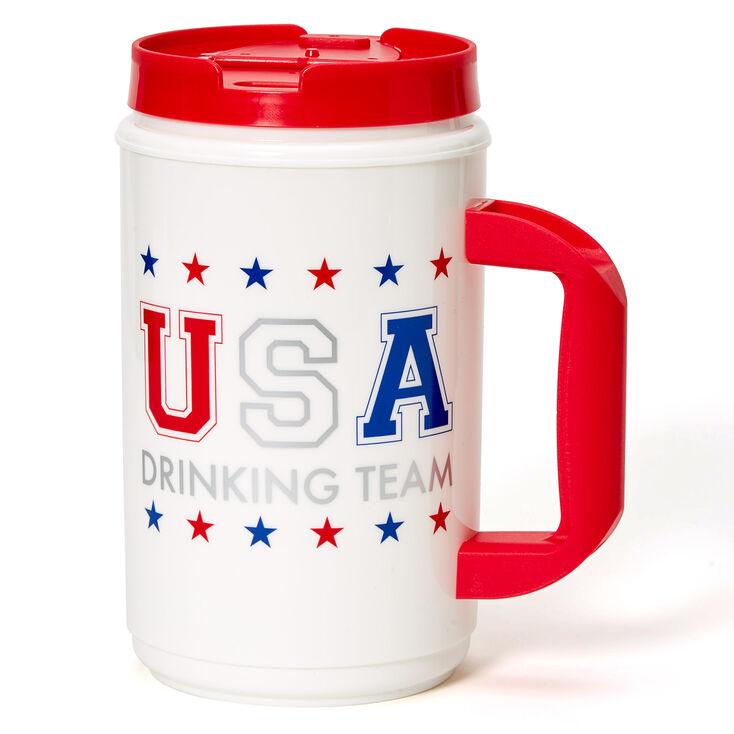 USA Drinking Team American Flag Beverage Jug - White,