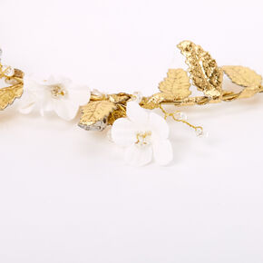 Gold Metallic Flower Crown Tie Headwrap - White,