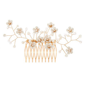 Rose Gold Daisy Hair Comb - White,