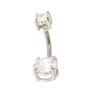 Titanium Cubic Zirconia 14G Belly Ring,