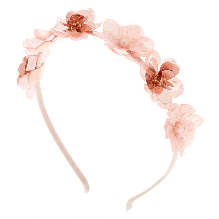Rose Gold Pearl Flower Headband - Blush,