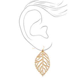 "Gold 2"" Wooden Leaf Drop Earrings - Cream,"