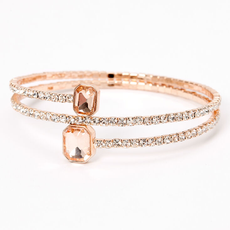 Rose Gold Pink Silk Rhinestone Emerald Tip Cuff Bracelet,