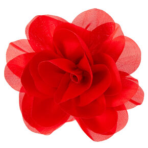 Red Chiffon Flower Hair Clip,