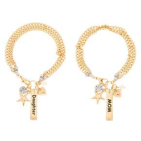 Gold Mom Daughter Charm Bracelet - 2 Pack,