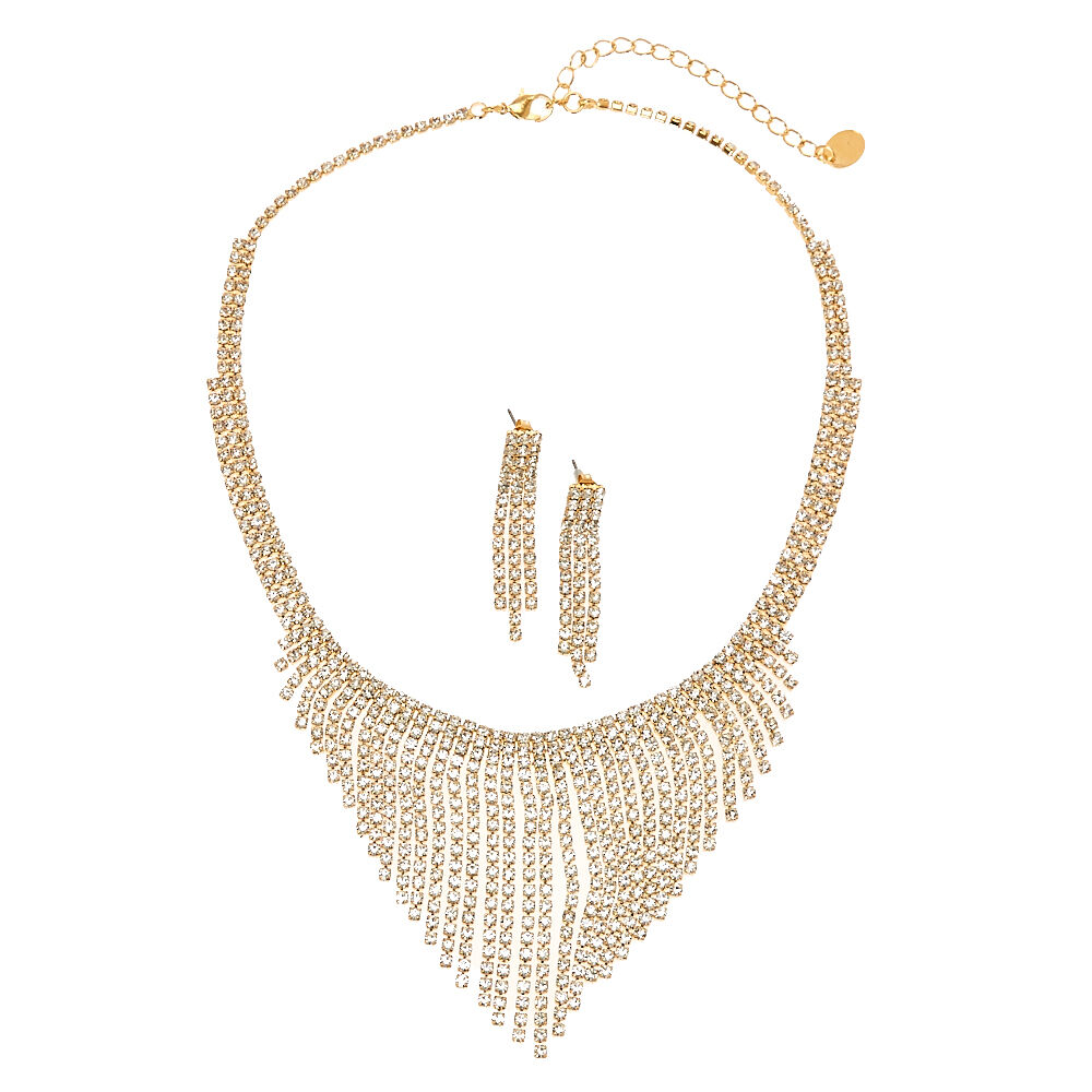 Gold Tone Faux Crystal Fringe Earrings Necklace Set Icing US