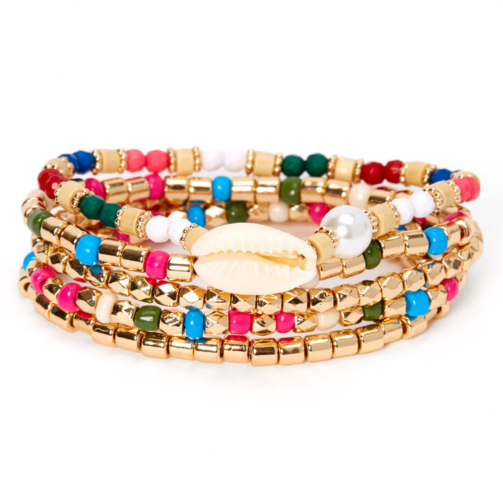 Gold Cowrie Shell Rainbow Beaded Stretch Bracelets - 5 Pack,