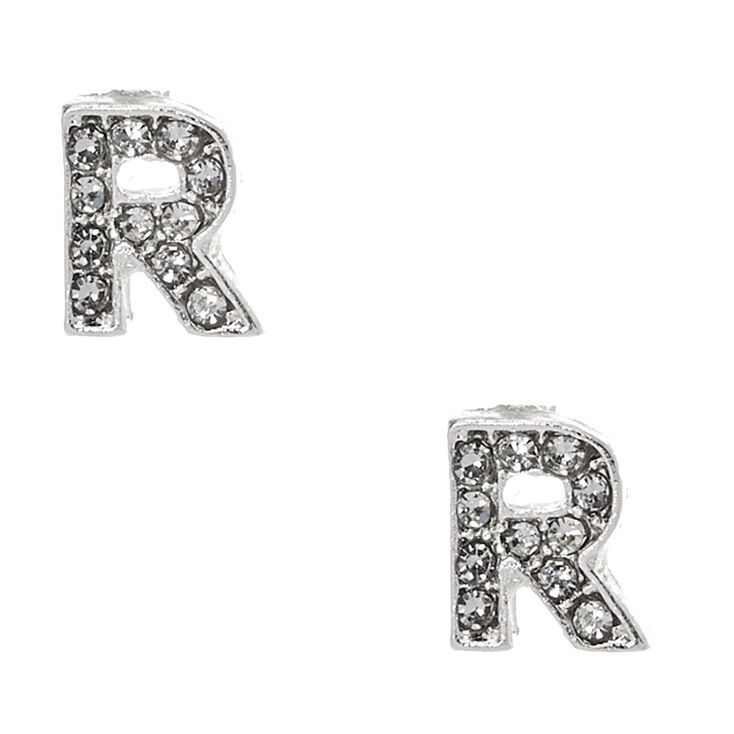 "Silver Tone Clear Crystal Initial Letter ""R"" Stud Earrings,"